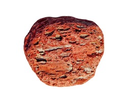 Red rock stone isolated on white background. Rough pebble stone texture of round big river or sea red rock isolated top view overhead. Garden heavy red rock boulder pebble stone isolated copy space