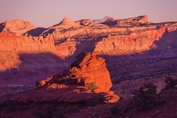 Red Rocks Sunset Scenery. Capitol Reef Sunset. Utah, United States.