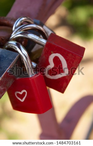 Red Romance locks on the bridge, Love lock, Loyalty #1484703161