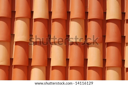 Red roof tile in the sun
