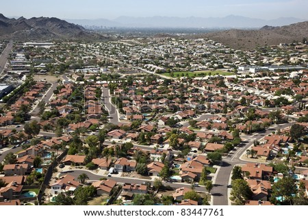 stock photo red roofs and swimming pools against the phoenix arizona skyline 83447761 Swimming Pools Phoenix Az