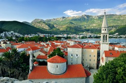 red roofs of Budva in Montenegro, citadel