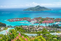 Red roofs of Eden Island, aerial view of Seychelles.