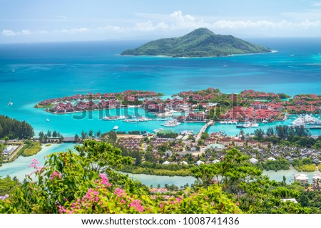 Red roofs of Eden Island, aerial view of Seychelles. Stock photo ©