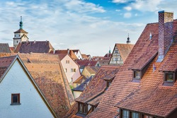 Red roofs of old German towns.Rothenburg ob der Tauber.Franconia, Bavaria, Germany