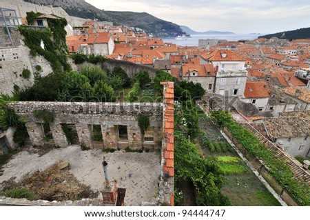 Red Rooftops in the Historic Old Town of Dubrovnik, Croatia