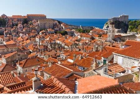 Red Rooftops in the Historic Old Town of Dubrovnik, Croatia on the Adriatic Coast