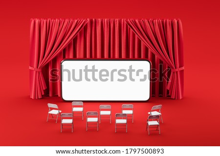 Red room with curtains and a smartphone screen opposite the chairs. Concept of mobile internet cinema, movie premiere, business conference or theater. Mock up. 3d rendering