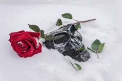 Red rose and black iron mask lie on white snow at gothic celebration