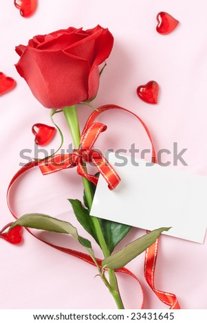 red rose and blank card