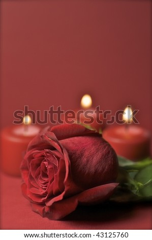 Red Rose And Candles. Romantic Theme Great For Valentine Day ...