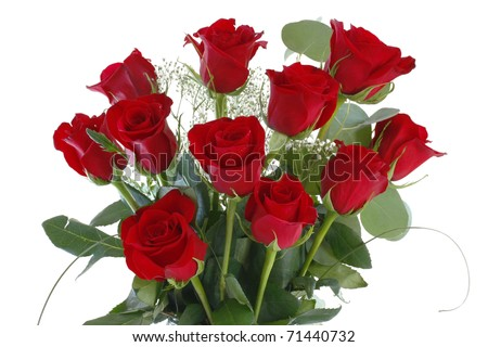 Red Rose Bouquet Closeup,