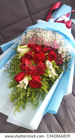 red rose bouquet lily bouquet #1342866839