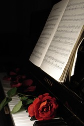Red rose by Piano