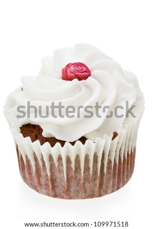Red Rose Cupcake Isolated against a white background.