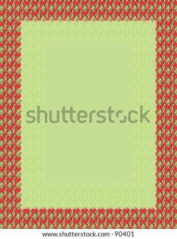 Red rose frame over leafy green.