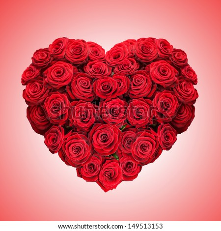 red rose heart on pink background