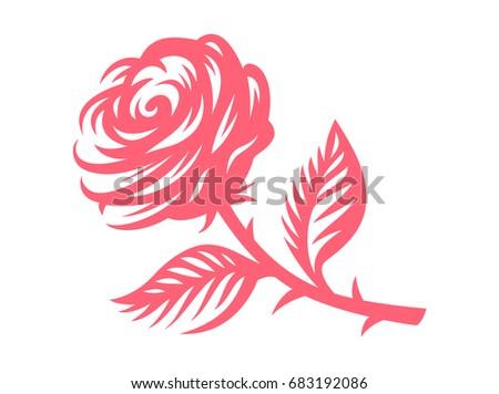 Red rose -  illustration, emblem design on white background