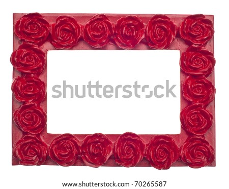 Red Rose Modern Vibrant Colored Empty Frame Isolated on White with a Clipping Path.