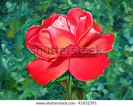 red rose, oil on canvas