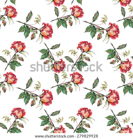 Red rose, pattern seamless, watercolor