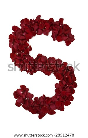 s alphabet in rose  Red rose petals forming e...