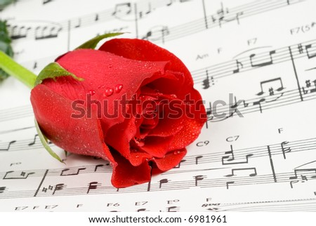 Red rose rests on piano sheet music