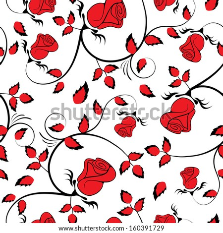 Red Rose Seamless Background Floral Pattern Vintage Wallpaper Flower Texture
