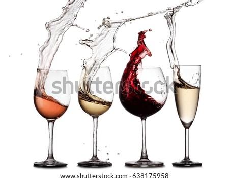 Red, rose, white wine and champagne glasses splash #638175958