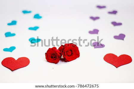 Red rose with blue hearts and red roses with violet hearts best for background images for valentines day