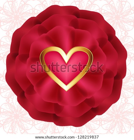 Red rose with hearts on seamless openwork pattern. Raster copy of vector image