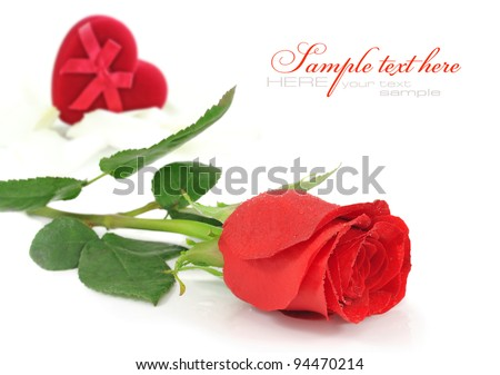 Red rose with red velvet Heart-shaped Gift Box on a white background