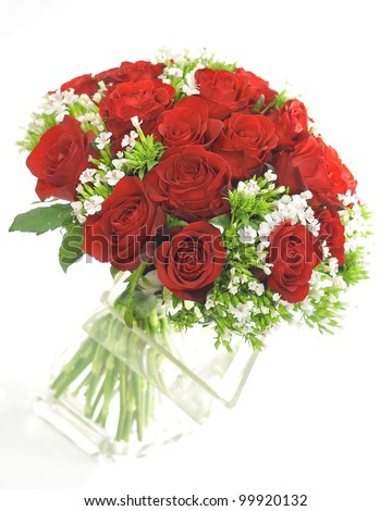 Red rose with small white flower bouquet isolated on white