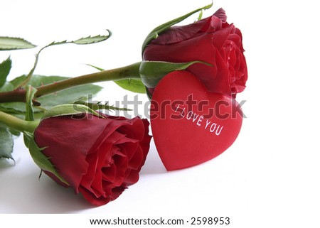 "stock photo : red roses and heart with message ""I love you"""