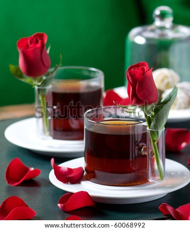 red roses and tea
