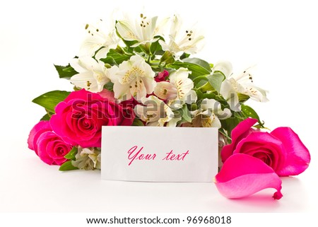 red roses and white Alstroemeria on a white background