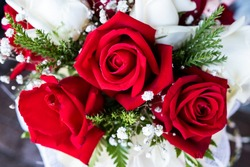 Red roses bouquet for wedding