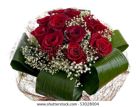 Red roses bouquet isolated on white background. - stock photo
