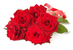 Red roses bunch with bow isolated on white background
