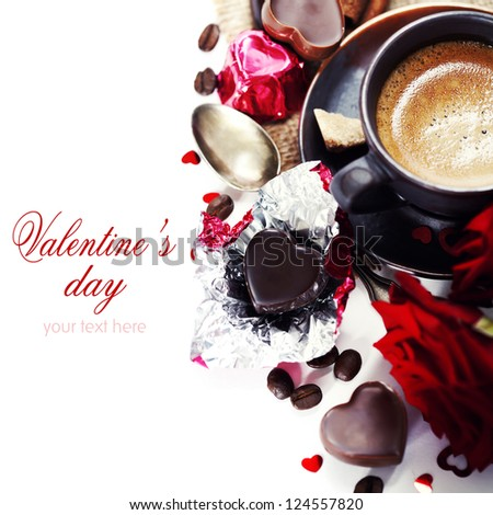 red roses, coffee  and chocolate hearts for Valentine's Day (with sample text)
