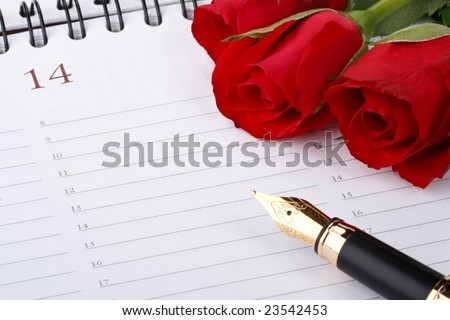 Red roses, fountain pen and calendar page. Valentines day card.