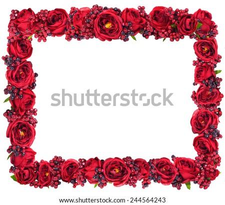 Red roses frame border isolated on white background