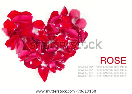 Red roses Heart shape on white background.