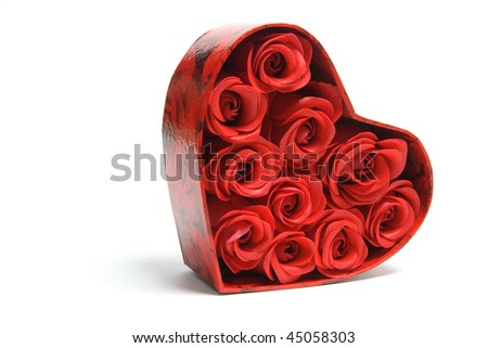 Red Roses in Gift Box on White Background