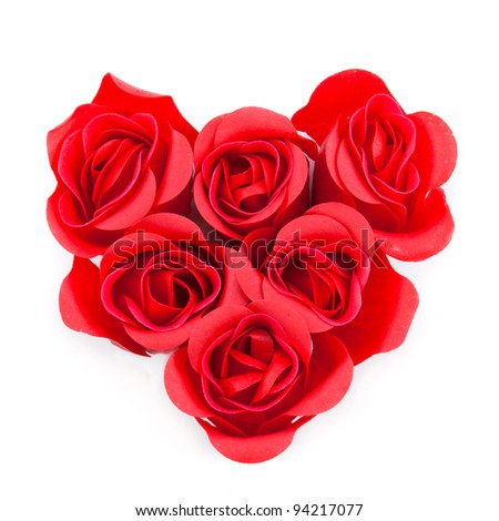 red roses in heart form isolated on white background, love concept