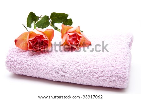 Red roses on terry cloth towel