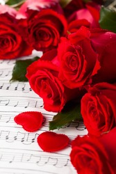 Red roses  over  background with musical notes for Valentine's day