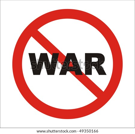 anti war pictures. Red round anti war Sign