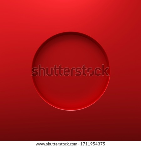 Red round frame or circle hole on steel hole background with borders concept. Red steel and geometric shape. 3D rendering.