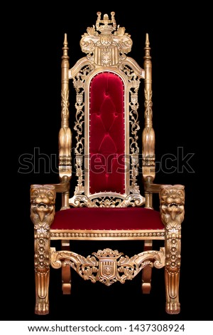 Red royal chair isolated on black background. Place for the king. Throne. Tsar's chair.